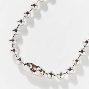 Silver Beaded Large Ball Chain Necklace